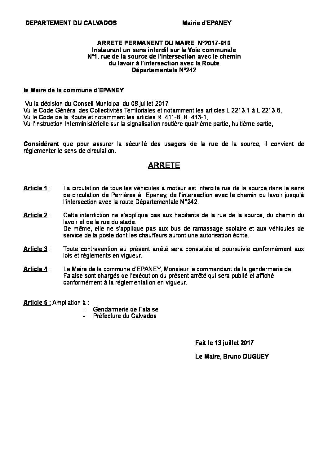 Arrêté  municipal N° 2017- 10 SENS INTERDIT à FONTAINE