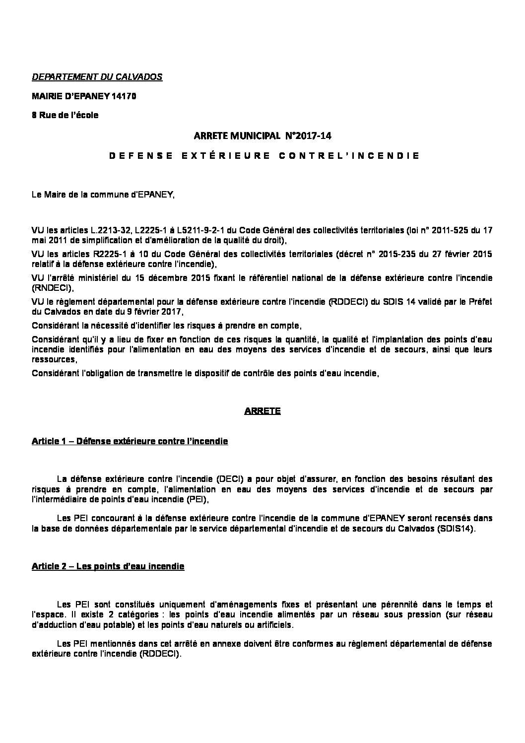 Arrêté Municipal N°2017-14  Défense Extérieure Contre l